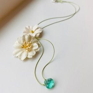 Green Emerald Teardrop Necklace